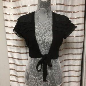 LOFT Black Cropped- Cardigan W/ Strap bow